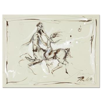 """Marta Wiley, """"Centaur II"""" Original Ink Sketch, Hand Signed and Thumb Printed with Certificate of Authenticity."""