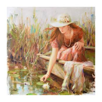 """Vidan, """"By the Pond"""" Limited Edition on Canvas, Numbered and Hand Signed with Certificate."""