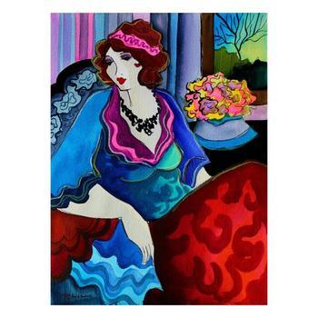 """Patricia Govezensky, """"Anne"""" Hand Signed Original Watercolor on Paper; COA"""