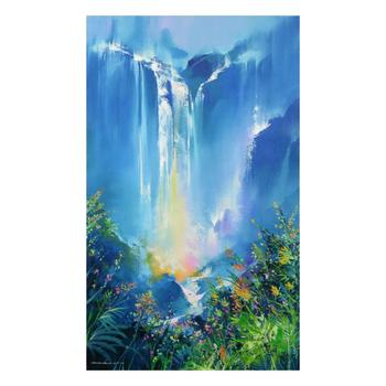 """Thomas Leung, """"Green Forest Falls"""" Limited Edition on Canvas, Numbered and Hand Signed with Letter of Authenticity."""