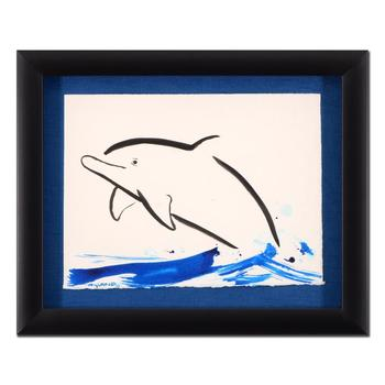 "Wyland, ""Dolphin"" Framed Original Sumi Ink and Watercolor Painting, Hand Signed with Certificate of Authenticity."