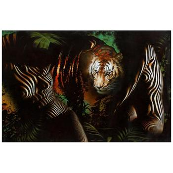 "Vera V. Goncharenko, ""The Ladies with the Tiger"" Hand Signed Limited Edition Giclee on Canvas with Letter of Authenticity."