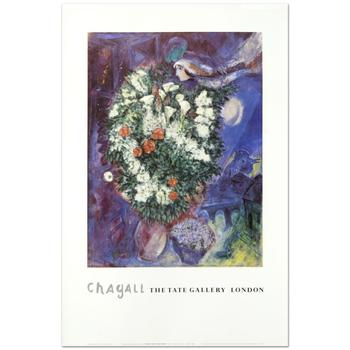 "Marc Chagall (1887-1985), ""Bouquet with Flying Lover"" Fine Art Poster."