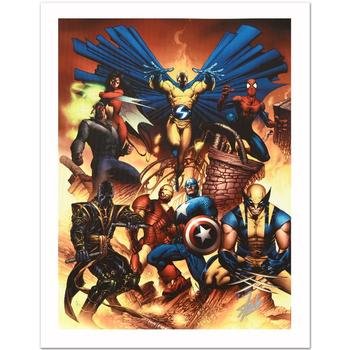 """Marvel, """"New Avengers #1"""" Ltd Ed Giclee on Canvas by Joe Quesada, Numbered & Hand Signed by Stan Lee w/Cert."""