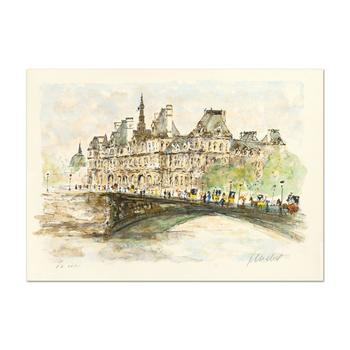 "Urbain Huchet, ""Hotel De Ville"" Limited Edition Lithograph, Numbered and Hand Signed."