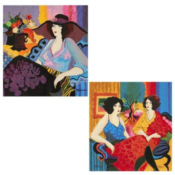 """Patricia Govezensky, """"Noa and Models Talking"""" Hand Signed Set of 2 Limited Edition Serigraphs with Letter of Authenticity."""
