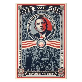 """Shepard Fairey, """"Yes We Did. (2008)"""" Offset Lithograph Marking Barack Obama's Historic Victory with Letter of Authenticity."""
