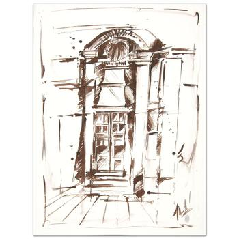 """Marta Wiley, """"Door"""" Original Ink Sketch, Hand Signed and Thumb Printed with Certificate of Authenticity."""
