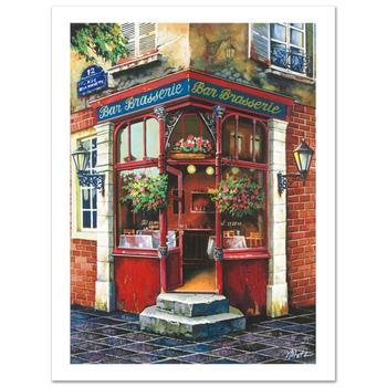 """Anatoly Metlan, """"Bar Brasserie"""" Limited Edition Serigraph, Numbered and Hand Signed with Certificate."""