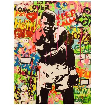 """Nastya Rovenskaya, """"Muhammad Ali"""" Hand Signed Original Mixed Media on Canvas; COA"""