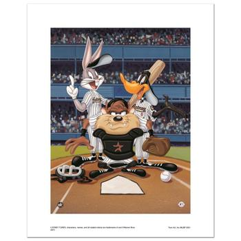 """""""At the Plate (Astros)"""" Numbered Limited Edition Giclee from Warner Bros. with Certificate of Authenticity."""