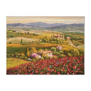 """S. Sam Park, """"Tuscany Red Poppies"""" Hand Embellished Ltd Ed on Canvas, Numbered and Hand Signed with Cert."""