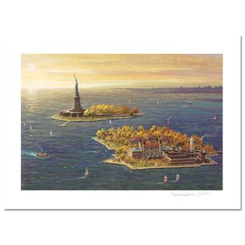 """Alexander Chen, """"Ellis Island, Fall"""" LIMITED EDITION Mixed Media, Numbered and Hand Signed with Certificate of Authenticity."""