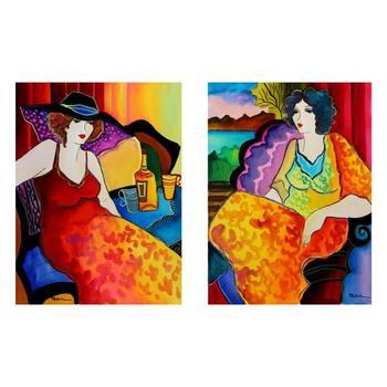 "Patricia Govezensky, ""Night in Paris"" Hand Signed Set of Two Original Watercolors; COA"