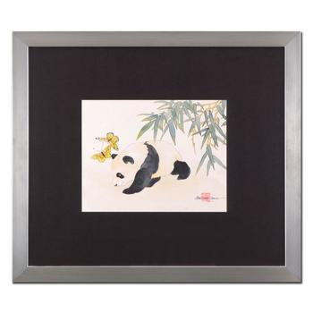 "Caroline Young, ""Panda and Butterflies II"" Framed Original Gouache Painting on Mother of Pearl Paper, Hand Signed & COA"
