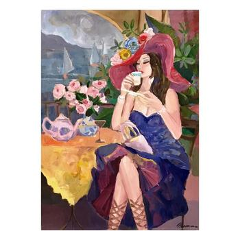 """Isaac Maimon, """"Pleasure Cafe"""" Original Acrylic Painting on Canvas, Hand Signed with Certificate."""
