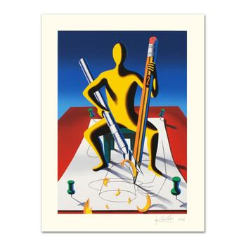 """Mark Kostabi, """"Careful With That Ax, Eugene"""" Limited Edition Serigraph, Numbered and Hand Signed with Certificate."""