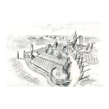 "Wayne Ensrud ""View of Chateau Prieure-Lichine (Bordeaux)"" Pastel Original Artwork; Hand Signed; COA"