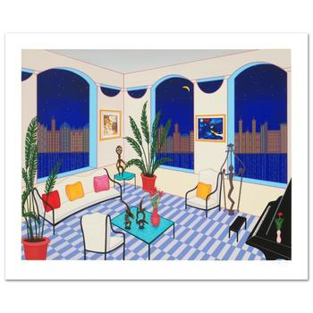 """Fanch Ledan, """"Interior with Primitive Art"""" Limited Edition Serigraph, Numbered and Hand Signed with Certificate."""