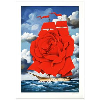"""Rafal Olbinski, """"Red Rose Ship"""" Ltd Ed Hand Pulled Original Lithograph Numbered and Hand Signed, with Cert."""