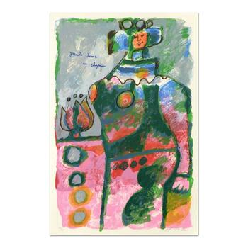 """Theo Tobiasse (1927-2012), """"Grande Dame Au Chapeau"""" Ltd Ed Lithograph, Numbered and Hand Signed with LOA."""