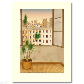 """Fanch Ledan, """"La Fenetre"""" LIMITED EDITION Lithograph. HC Numbered and Hand-Signed with Certificate of Authenticity."""