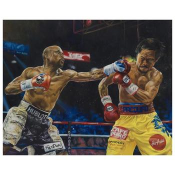 """Turchinsky Dimitry, """"Mayweather Vs Pacquiao"""" Hand Signed Limited Edition Mixed Media on Canvas with Letter of Authenticity."""
