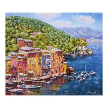 "Sam Park, ""Portofino"" Hand Embellished Limited Edition Serigraph on Canvas, Numbered and Hand Signed with Certificate."