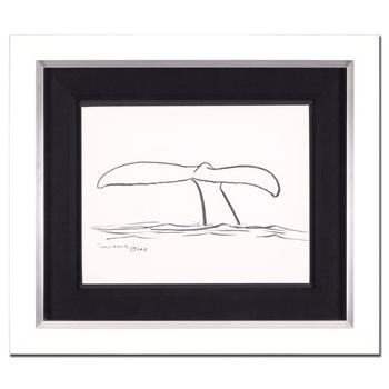 "Wyland, ""Whale Tail"" Framed Original Sketch, Hand Signed with Certificate of Authenticity."