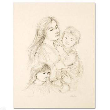 """Edna Hibel (1917-2014, """"Robert with Mother and Sister"""" Ltd Ed Lithograph, Numbered & Hand Signed with Certificate."""