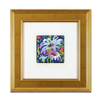 """Simon Bull, """"Summer Breeze"""" Framed Hand Colored Limited Edition Etching, Numbered and Hand Signed with Letter of Authenticity."""