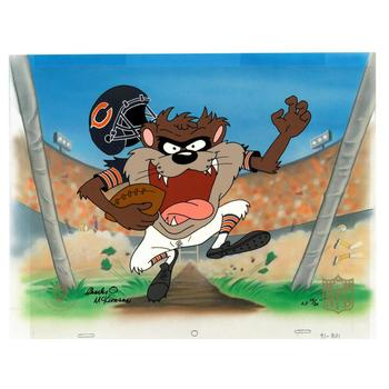 """Charles McKimson (1914-1999), """"Touch Down Taz"""" Hand Painted Limited Edition Animation Cel, AP No. 14/20 & hand signed w/COA."""
