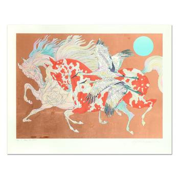 """Guillaume Azoulay, """"It Takes Two"""" Limited Edition Serigraph with Hand Laid Bronze Leaf, Numbered and Hand Signed with LOA."""