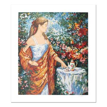 """Igor Semeko, """"Tea Time"""" Hand Signed Limited Edition Serigraph with Letter of Authenticity."""