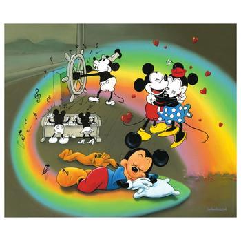 """Jim Warren """"What Does Mickey Dream?"""" Disney Limited Edition Hand Embellished Giclee on Canvas; Hand Signed; COA"""
