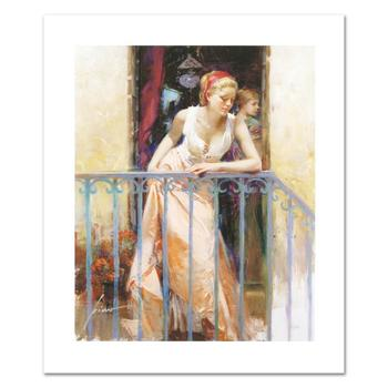 """Pino (1931-2010), """"At the Balcony"""" Limited Edition on Canvas, Numbered and Hand Signed with Certificate of Authenticity."""