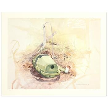 """William Nelson, """"Green Watering Can"""" Limited Edition Lithograph, Numbered and Hand Signed by the Artist."""