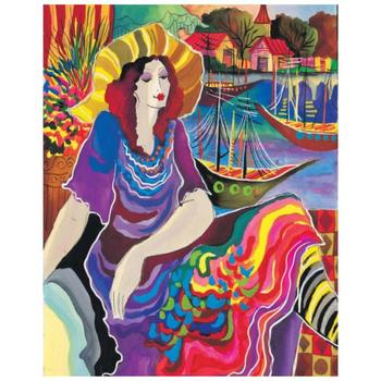 "Patricia Govezensky, ""Lady by the Bayside"" Hand Signed Limited Edition Giclee on Canvas with Letter of Authenticity."