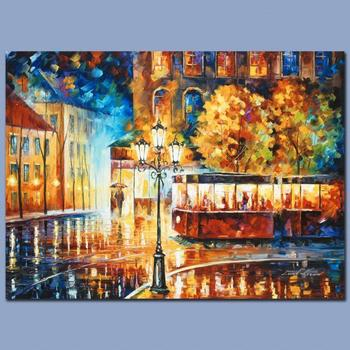 "Leonid Afremov (1955-2019) ""Night Trolley"" Limited Edition Giclee on Gallery Wrapped Canvas, Numbered and Signed."