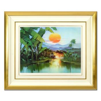 """H. Leung, """"Maia Sunset"""" Framed Limited Edition, Numbered 130/400 and Hand Signed with Letter of Authenticity."""