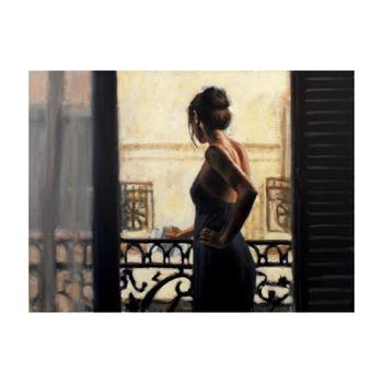 """Fabian Perez, """"Balcony Buenos Aires IX"""" Hand Textured Limited Edition Giclee on Board. Hand Signed and Numbered."""