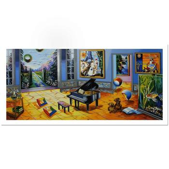 "Alexander Astahov, ""BLACK PIANO"" Hand Signed Limited Edition Serigraph with Letter of Authenticity."