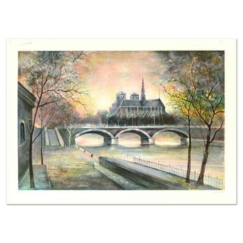 "Antonio Rivera, ""Notre Dame"" Limited Edition Lithograph, Numbered and Hand Signed."