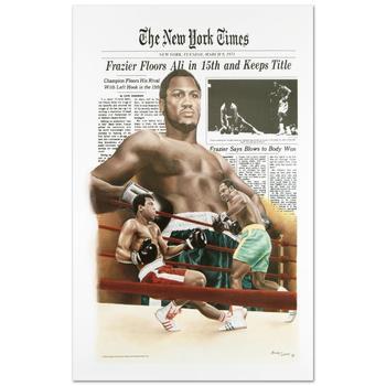 """Frazier Floors Ali"" FINE ART POSTER (26.5"" x 36.5"") of Heavyweight Champ Muhammad Ali."