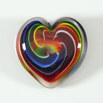 """Glass Eye Studios, """"Heart of Fire (Bohemian)"""" Hand Blown Glass Paperweight (Second)."""