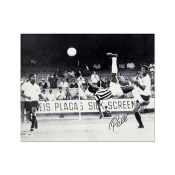 """Scissor Kick"" Print, Autographed by Legendary Brazilian Footballer, Pele."