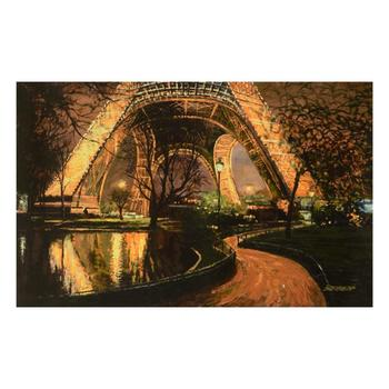 """Howard Behrens (1933-2014), """"Twilight At The Eiffel Tower"""" Ltd Ed on Canvas, Numbered and Signed with Certificate."""