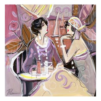 """Isaac Maimon, """"Lounge Cafe"""" Original Acrylic Painting, Hand Signed with Certificate of Authenticity. List $4,000"""