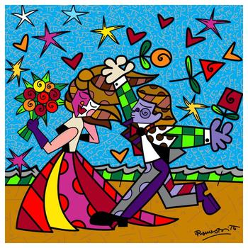 """Romero Britto """"I Love You"""" Hand Signed Limited Edition Giclee on Canvas; COA"""