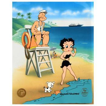"Myron Waldman (d. 2006), ""Guarding Betty"" Ltd Ed Hand Inked & Painted Animation Cel, No. & Hand Signed w/COA."
